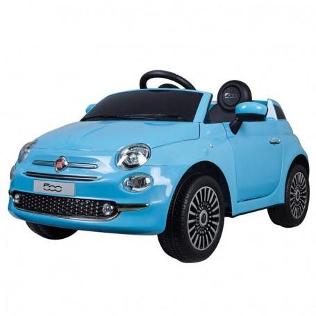 AUTO ELETTRICA PER BAMBINI FIAT 500 NEW AZZURRA R/C 12V, 2 MOTORI, ING.MP3, LED CLB/AS236