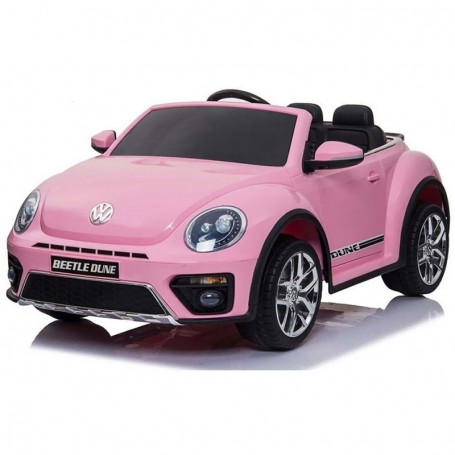 ELECTRIC CAR FOR CHILDREN VOLKSWAGEN THE BEETLE PINK, R/C, 12V, LIGHT AND SOUND, RADIO FM, BLUETOOTH