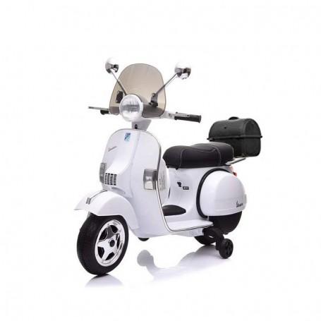 MOTO ELETTRICA PER BAMBINI VESPA PX 150 PIAGGIO DELUXE BIANCA 12V BAULETTO, PARAVENTO, RUOTE EVA/2