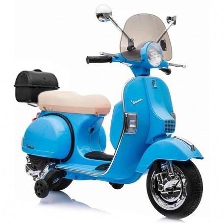 MOTO ELETTRICA PER BAMBINI VESPA PX 150 PIAGGIO DELUXE BLU 12V BAULETTO, PARAVENTO, RUOTE EVA/24