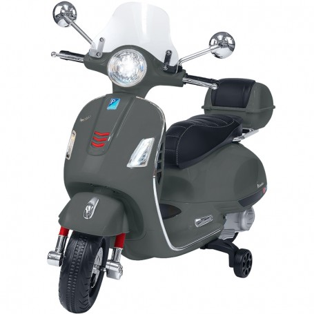 ELECTRIC MOTORBIKE FOR KIDS VESPA GTS PIAGGIO GREY WITH CHEST 12V MP3 INPUT, AND LED, LEATHER SEAT
