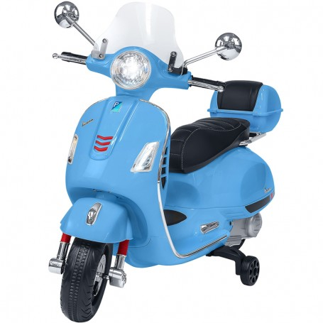 ELECTRIC MOTORBIKE FOR KIDS VESPA GTS PIAGGIO BLUE WITH CHEST 12V MP3 INPUT, AND LED, LEATHER SEAT