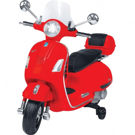 ELECTRIC MOTORBIKE FOR KIDS VESPA GTS PIAGGIO, RED,  WITH CHEST 12V MP3 INPUT, AND LED, LEATHER SEAT