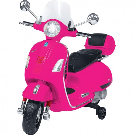 ELECTRIC MOTORBIKE FOR KIDS VESPA GTS PIAGGIO PINK WITH CHEST 12V MP3 INPUT, AND LED, LEATHER SEAT