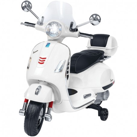 ELECTRIC MOTORBIKE FOR KIDS VESPA, WHITE, GTS PIAGGIO WITH CHEST 12V MP3 INPUT, AND LED, LEATHER SEAT