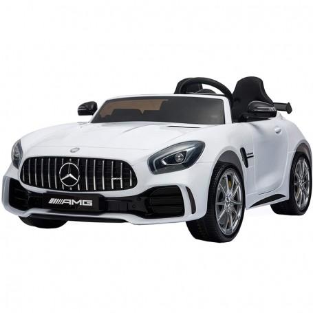 AUTO ELETTRICA PER BAMBINI MERCEDES AMG GTR BIANCA 2 POSTI R/C ING. MP3, LED E PORTIERE APRIBILI GLO