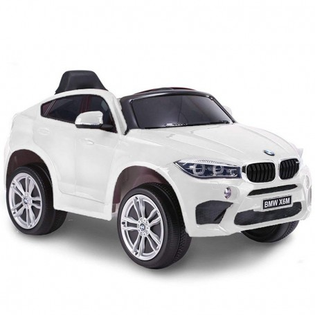 AUTO ELETTRICA PER BAMBINI BMW X6M BIANCA R/C 12V 2,4 GHZ SEDILE IN PELLE ING. MP3, E LED