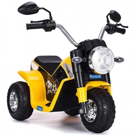 MOTO ELETTRICA PER BAMBINI BABY GIALLA 6V CON SUONI E LED LMT LT889/236