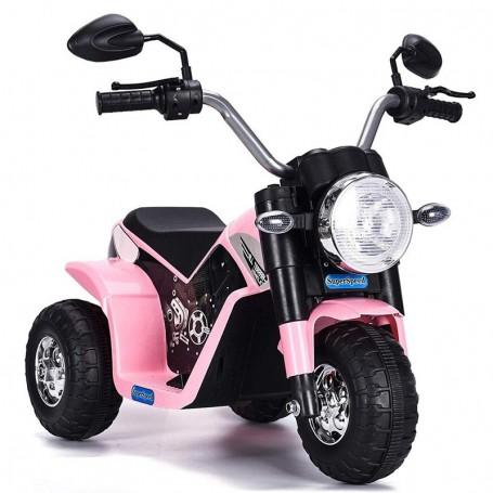 MOTO ELETTRICA PER BAMBINI BABY ROSA 6V CON SUONI E LED LMT LT889