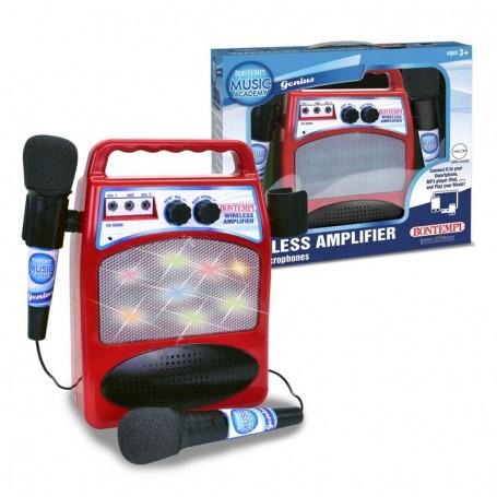 - AMPLIFICATORE WIRELLES CON 2 MICROFONI, EFFETTI LUMINOSI E INGRESSO MP3 BONTEMPI 486000/24