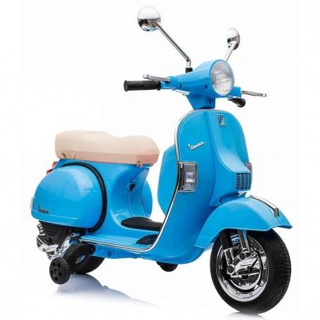MOTO ELETTRICA PER BAMBINI VESPA PX 150 PIAGGIO BLU 12V SUONI, LED, SED. PELLE, RUOTE EVA /236