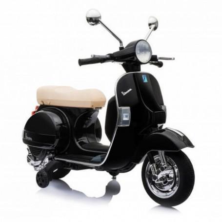 MOTO ELETTRICA PER BAMBINI VESPA PX 150 PIAGGIO NERA 12V ING. MP3, LED, SED. PELLE, RUOTE EVA /236