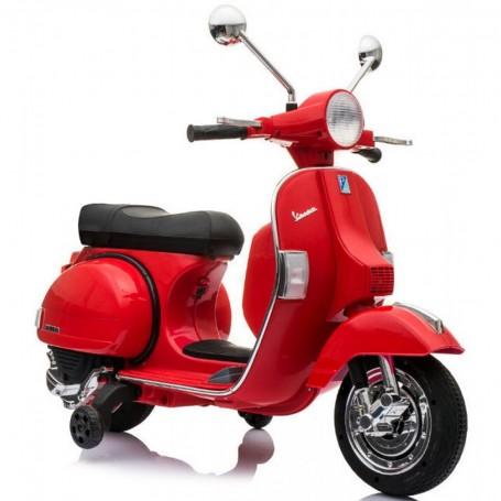 MOTO ELETTRICA PER BAMBINI VESPA PX 150 PIAGGIO ROSSA 12V SUONI, LED, SED. PELLE, RUOTE EVA /236