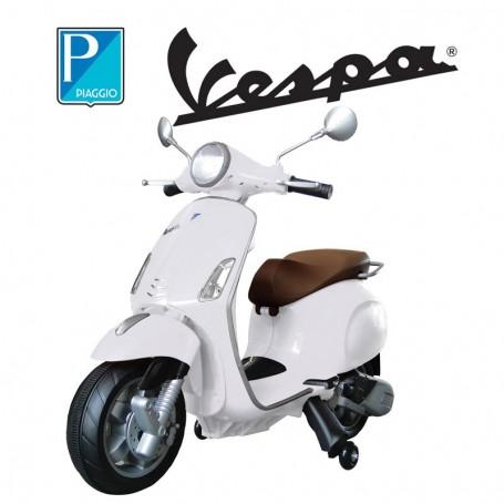 MOTO ELETTRICA PER BAMBINI VESPA PIAGGIO PRIMAVERA BIANCA 12V ING. MP3, E SEDILE IN PELLE/2