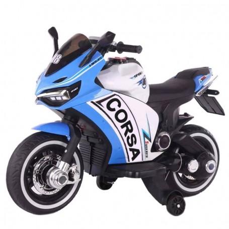 MOTO ELETTRICA PER BAMBINI CORSA DELUXE BLU 12V CON LUCI, SUONI E DASHBOARD CLB 00119015/2