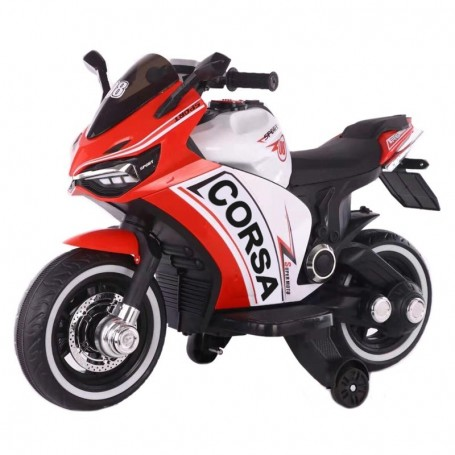 MOTO ELETTRICA PER BAMBINI CORSA DELUXE ROSSA 12V CON LUCI, SUONI E DASHBOARD CLB 00119014/2