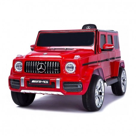 AUTO ELETTRICA PER BAMBINI MERCEDES G63 ROSSA R/C 12V LUCI E SUONI, SEDILE IN PELLE E BLUETOOTH/2