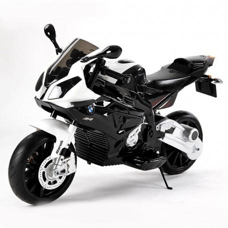 MOTO ELETTRICA PER BAMBINI BMW S1000 RR NERA 12V LED, SUONI, CAVALLETTO, ROTELLE E RUOTE IN GOMMA