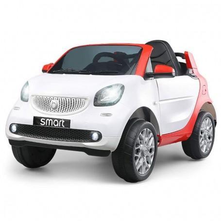 AUTO ELETTRICA PER BAMBINI SMART NEW VERSION BIANCA R/C 2 MOTORI ING. MP3,  E LED GQN/24