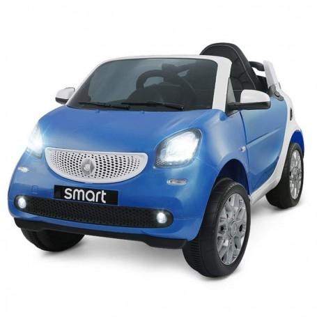 AUTO ELETTRICA PER BAMBINI SMART NEW VERSION BLU R/C 2 MOTORI ING. MP3,  E LED GQN/24
