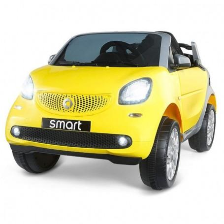 AUTO ELETTRICA PER BAMBINI SMART NEW VERSION GIALLA R/C 2 MOTORI ING. MP3,  E LED GQN